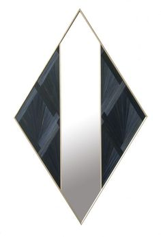 Dering Hall - Buy Black diamond mirror in straw marquetry and brass - Mirrors - Accessories