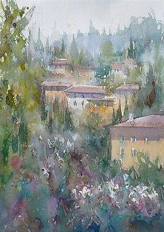 """Firenze XI, Italian Landscape Painting"" - Original Fine Art for Sale - © Keiko Tanabe"