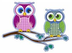 Two Owls embroidery design from embroiderydesigns.com