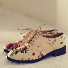 British Style Floral Print Lace Up Flat Heel Shoes [grxjy5190757]
