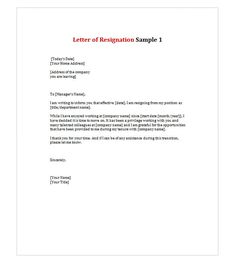 Printable sample letter of resignation form laywers template forms letter of resignation 1 expocarfo Choice Image