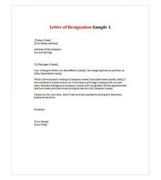letter of resignation 1 - Writing Letter Of Resignation Sample