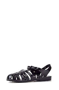 73b813e87fa wow Bamboo Amira-03 Women s Closed Toe Jelly Caged Ankle Strap Sandal Flat  - Black