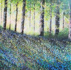 ARTFINDER: Spring Beeches by Guy Manning - Sun behind a stand of beech trees, early spring: bluebells, red and pink campions, hartstongue ferns and birdsong mingle in one gorgeous morning. Light, dust...