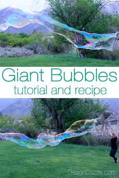 How to make giant bubbles. I have a secret ingredient I share in my recipe that helps with the staying power of the bubbles. Kids and adults love this activity