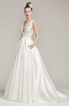 V-Neck A-Line Wedding Dress  with Natural Waist in Satin. Bridal Gown Style Number:33415175