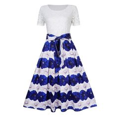 GlorySunshine Women Modest Floral Print Lace Bowknot A-line Pleated Maxi Dress Cheap Dresses, Nice Dresses, Dresses For Work, Teen Dresses Casual, Plus Size Lace Dress, Classy Dress, Swing Dress, Vintage Dresses, Evening Dresses