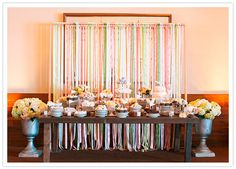 ribbon streamer dessert table backdrop