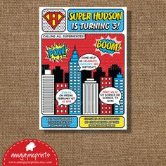 Superhero Invitation - Pop Art - Vintage - Super Hero - Comic - Birthday - Invite - Style AJP117 A via Etsy