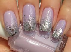 Essie Nice is Nice base with OPI Crown Me Already glitter gradient
