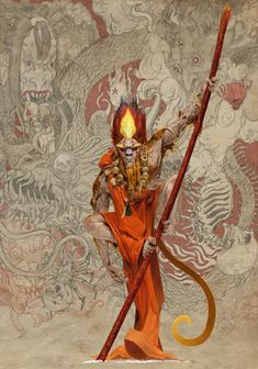 rising sun concept art by adrian smith. Character Concept, Character Art, Concept Art, Dark Fantasy, Fantasy Art, Adrian Smith, Samurai Artwork, Journey To The West, Monkey King