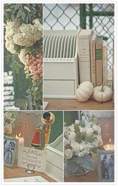 White pumpkins and centerpieces