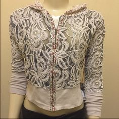Scrapbook Lace Jacket Ivory ▪️retail price: $56 ▪️new with out tag ▪️the one on the mannequin is a small size of these. ......................................................... ▪️Price is firm, even when bundled ◾️No Trades, No offers ▪️Please check out our other items. Scrapbook Jackets & Coats