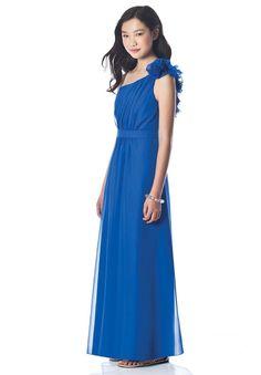 One-Shoulder A-line Long Chiffon Junior Bridesmaid Dress