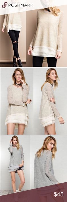 XX CAROLYN chiffon layered cozy sweater - OATMEAL Super cozy patterned sweater w/ 3/4 length sleeves. Complete with lovely chiffon Layered neck line, sleeve and bottom . AVAILABLE IN H. GREY AND OATMEAL   NO TRADE, PRICE FIRM Bellanblue Tops Tees - Long Sleeve