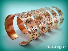 Bratara din cupru Copper Bracelet, Cuff Bracelets, Laser Engraving, Marc Jacobs, Silver, Gold, Jewelry, Diy, Folklore