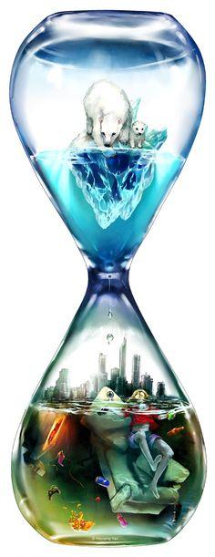 Un reloj de agua climático  Esta ilustración ha sido realizada por Wenqing Yan (EEUU).  En ella se puede ver su visión de los efectos del cambio climático sobre todos nosotros.  Wenqin Yan, conocida también como Yumei, aborda en su obra problemas sociales de actualidad con un estilo que se puede enmarcar en el anime.