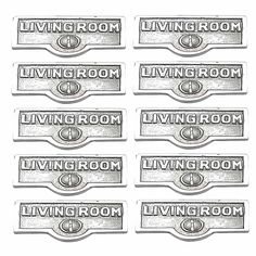 10 Switchplate Chrome Over Brass LIVING ROOM Switch Tag Chrome 1 11/16 in