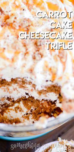 Cheesecake Trifle, Carrot Cake Cheesecake, Trifle Desserts, Desserts Caramel, Trifle Cake, Potluck Desserts, Easter Desserts, Birthday Desserts, Mini Cakes
