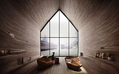 Kamvari Architects's winning cabin proposal is intended to combine traditional woodworking techniques with a form that mimics the movement of a train.