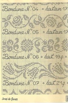 "Photo from album ""Bordure"" on Yandex. Cross Stitch Love, Cross Stitch Borders, Cross Stitch Charts, Cross Stitch Designs, Cross Stitching, Cross Stitch Patterns, Filet Crochet, Crochet Borders, Fair Isle Knitting Patterns"