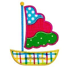 Sailboat 3 Applique - 3 Sizes!   Boats   Machine Embroidery Designs   SWAKembroidery.com Applique Time
