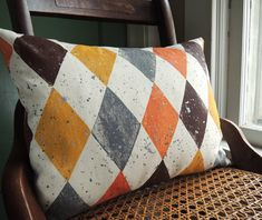 Oxblood and Yellow Ochre Harlequin Spatter Hand by giardino, $52.00
