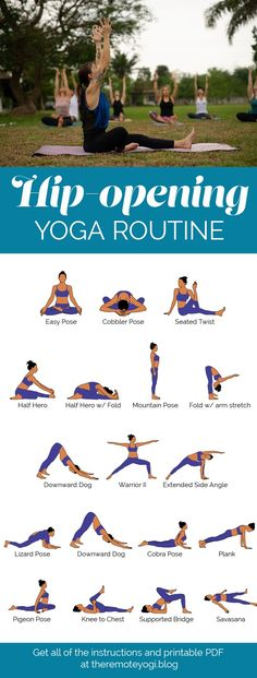 Stretch out the hips and enjoy this twenty minute yoga sequence. Gain flexibility and openness with this free printable PDF. Flexibilitätsübungen Open Your Tight Hips - Yoga Printable PDF Yoga Fitness, Fitness Workouts, Fitness Tips, Yoga Pilates, Yoga Moves, Pilates Reformer, Yoga Hip Stretches, Morning Yoga Stretches, Morning Yoga Flow