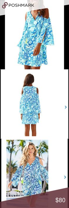 Lilly Pulitzer dress Lilly Pulitzer Benicia open shoulder dress in indigo sunset swim. New in packaging. Will post actual pictures of product tomorrow. Bought during APL and trying to get money back. Will be interested to ✝rade for other Lilly dresses. Lilly Pulitzer Dresses Midi