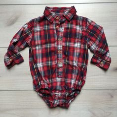 Osh Kosh Flannel Look Plaid Onesie Button Down Shirt