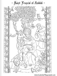 St Francis of Assisi Catholic coloring page printable for