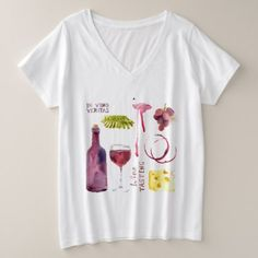 fun wine tasting plus size V-Neck T-Shirt  $29.65  by holidayfashion  - cyo diy customize personalize unique