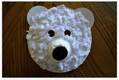 Polar Bear Mask The kids will love creating this cute polar bear mask! The furry texture is white tissue paper. This would be a great project to go along with a study of Arctic animals. The post Polar Bear Mask was featured on Fun Family Crafts. Kids Crafts, Bear Crafts, Craft Activities For Kids, Animal Crafts, Crafts To Do, Projects For Kids, Craft Ideas, Winter Activities, Snowman Crafts