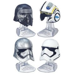 Star Wars: The Force Awakens Kylo Ren, Poe, Captain Phasma, and a Stormtrooper mini helmets perfect for your desk!