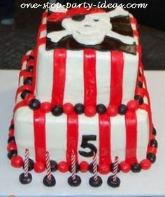 Pirate birthday party ideas for cakes.  See more pirate and birthday parties for kids at www.one-stop-party-ideas.com