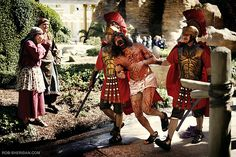 The Holy Land Experience Theme Park - Romans dragging bloody Jesus to the cross.