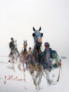 Joseph Zbukvic, In the mounting yard - Horse races Watercolor Horse, Watercolor Animals, Watercolor Portraits, Watercolor Paintings, Watercolours, Horse Posters, Tinta China, Animal Magic, Equine Art