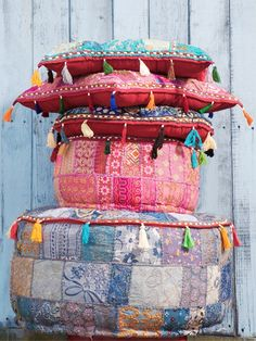 Love the patchwork pouf.