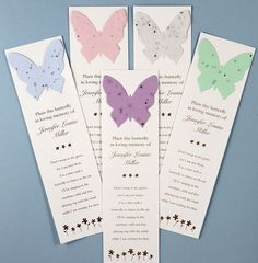 Forget me not flowers will grow when the butterfly from from these bookmarks are planted. Perfect for the person who loved to garden and read. $1.65 when 100 are purchased. #funeral gift, #butterfly seed bookmarks, #memorial bookmarks