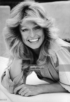 News Photo : Portrait of American actress Farrah Fawcett in a...