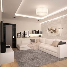 awesome minimalist living room decor ideas page 33 – nothingideas House Ceiling Design, Ceiling Design Living Room, Home Room Design, Home Ceiling, Interior Design Living Room, Living Room Designs, Interior Livingroom, Living Room Lighting, Classy Living Room