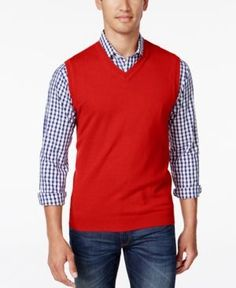 Club Room Men's Big and Tall V-Neck Sweater Vest - Pink 3XB