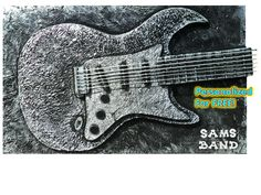 """Painting Description: Unplugged No. 5    Customize with name of Guitar Player or band name FREE in wooden letters painted silver. SHARP! Email me after placing order with personalization request or I will contact you.  Please be 12 letters or under or a small fee may apply. I will send you a photo for your approval before shipping.    SIZE 30""""High x 48""""Wide x 3-1/2 Deep    Black Heavy Texture with Metallic Silver    The Guitar is 3d as it pops from the canvas 2""""! Solid construction - every…"""