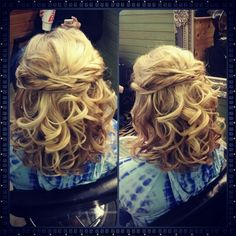 """Medium length half up formal style by: Jodi """" Dee """" Brynteson @ Charmed Spa in Milledgeville, Ga. Medium length half up formal style by: Jodi """" Dee """" Brynteson @ Charmed Spa in Milledgeville, Ga. Medium Hair Styles, Short Hair Styles, Medium Length Curls, Middle Hair, Mother Of The Bride Hair, Pageant Hair, Dance Hairstyles, Hairstyles Videos, Homecoming Hairstyles"""