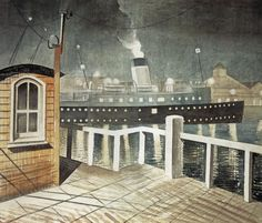 'Brighton' Leaving Newhaven by Eric Ravilious 1935 (Priv Coll). The steamer 'Brighton' transported mail between Newhaven and Dieppe. Newhaven, Magic Realism, Best Artist, Les Oeuvres, Illustrators, Art Photography, Illustration Art, Images, Fine Art