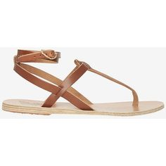 Ancient Greek Sandals Wrap Around Ankle Strap Flat Sandals ($225) ❤ liked on Polyvore featuring shoes, sandals, flats, brown, brown flats, flat shoes, brown flat sandals, brown leather shoes and leather flats