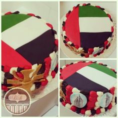 Uae Flag Cake Design : UAE flag cake with hand painted edible pictures for ...