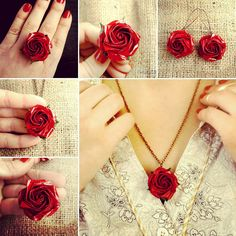 Red origami rose jewelry set. Stylish jewelry for the New year Eve!