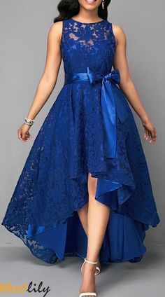 Vintage Lace Maxi Dress Women Sleeveless High Low Belted Irregular Swing A-Line Long Club Party Dress Vestidos 2019 Blue XXXL Lace Party Dresses, Elegant Dresses, Pretty Dresses, Sexy Dresses, Beautiful Dresses, Evening Dresses, Casual Dresses, Dress Prom, Fashion Dresses