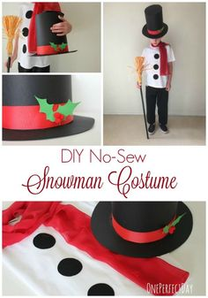 DIY no sew kids snowman costume                                                                                                                                                     More